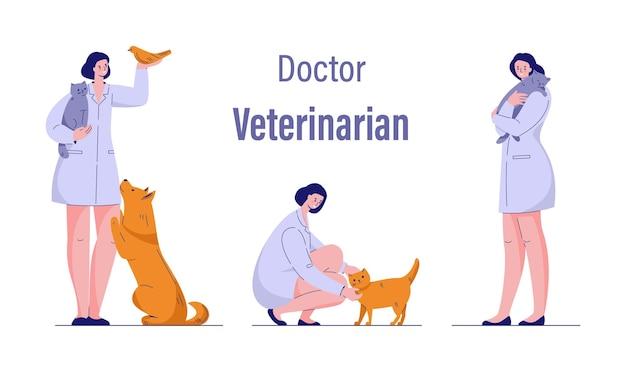 Врач ветеринар с животными кошка собака птица. набор векторных иллюстраций. изолированные на белом.