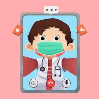 医師のビデオ通話の概念図