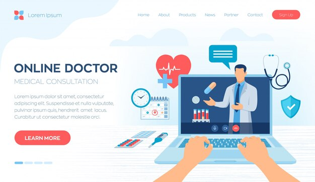 ノートパソコンの画面でビデオ通話を医者します。ヘルスケアオンライン医療相談およびサポートサービスのコンセプト。