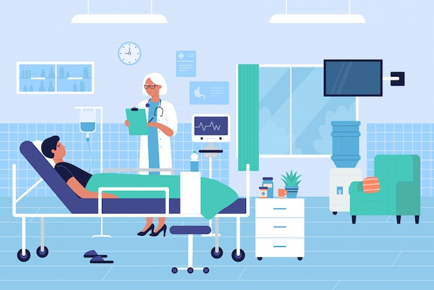 Doctor visits patient in hospital ward flat character vector illustration concept
