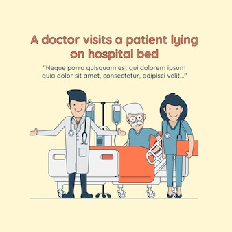 A doctor visits a patient lying on hospital bed