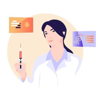 Doctor watching ecg monitor flat illustration