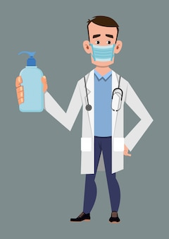 Doctor wear face mask and show hand sanitizer bottle