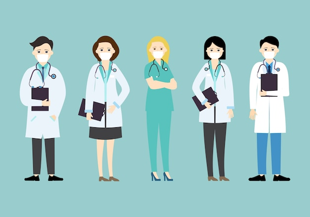 Doctor wear mask in different character, medical concept illustration
