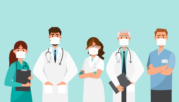 Doctor wear mask in different character.
