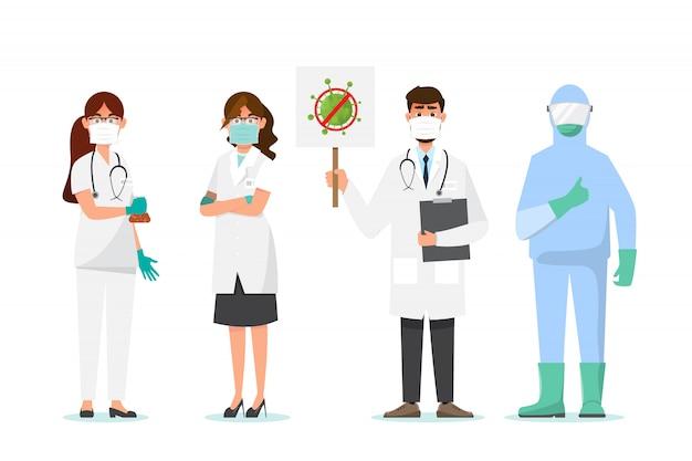 Доктор носить маску в другой характер. медицинская концепция.