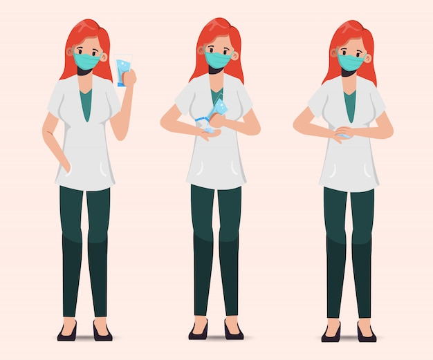 Doctor wear mask and present sanitizer alcohol gel.