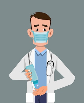 Doctor wear mask and sanitizing hands with sanitizer gel