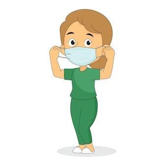 フェイスマスクを身に着けている医者はコロナウイルスを保護します