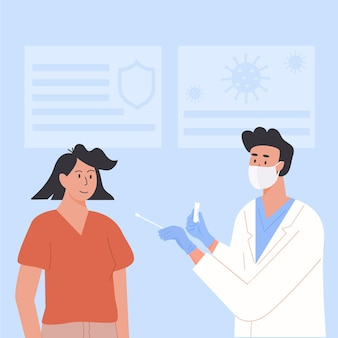 Doctor wearing face mask take nasal pcr swab test from woman patient at clinic. vector illustration