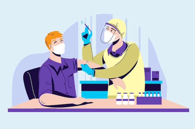 Врач в медицинской маске делает инъекцию вирусной вакцины пациенту делового человека