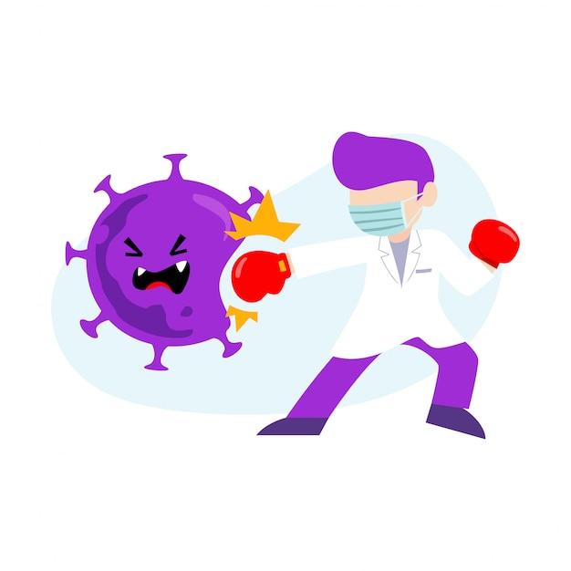 コロナウイルスに対するマスクを身に着けている医者