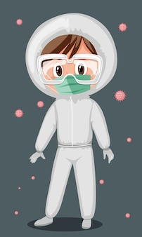 Doctor wearing mask and goggles with virus in the air