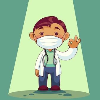 Доктор носить медицинскую маску мультипликационный персонаж. медицинский персонал во время вспышки covid-19. иллюстрация.