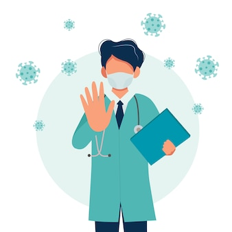 Doctor wearing a medical mask, coronavirus outbreak concept.