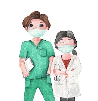 Врач в медицинской маске. акварельные иллюстрации мультипликационный персонаж.