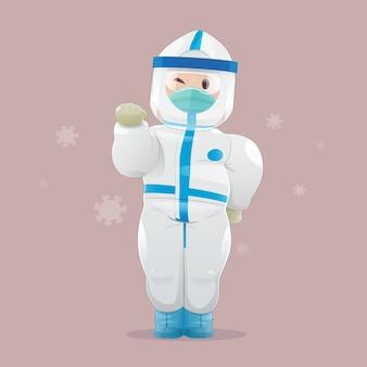 개인 보호 장비 (ppe), 의료용 장갑 및 안면 보호구를 착용 한 의사.