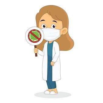 Doctor wearing protective medical mask. stop coronavirus sign