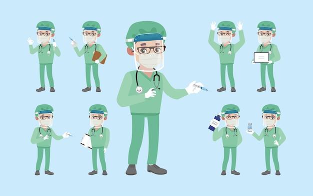 コロナウイルスと戦うために保護スイートを身に着けている医者 Premiumベクター