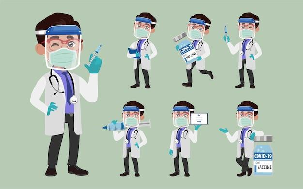 コロナウイルスと戦うために保護スイートを身に着けている医者