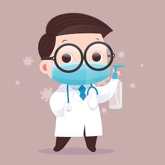 The doctor wears a medical mask and carries alcohol gel for washing hands. illustration.