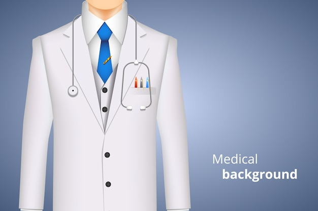 Doctor white coat, medical background with space for text