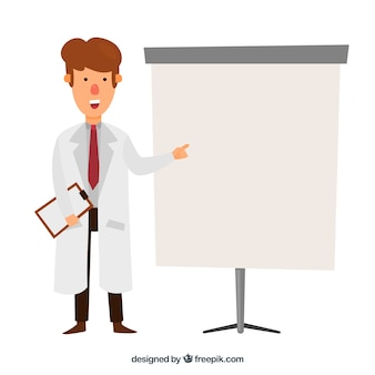 Doctor with a clipboard background