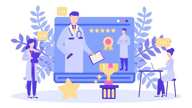 Doctor with best rating five star scores prize award  illustration banner.