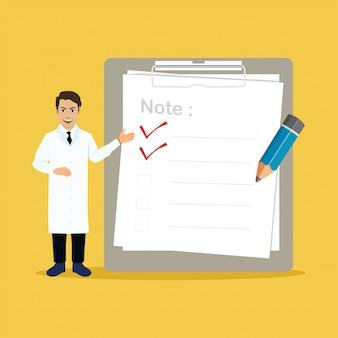Doctor with big clipboard and checklist illustration