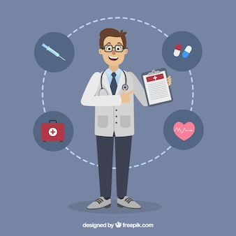 Doctor with clipboard and elements