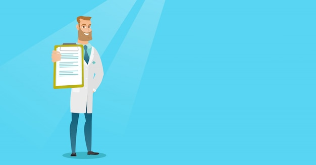 Doctor with a clipboard vector illustration.