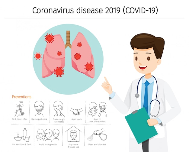 Doctor with coronavirus disease, covid-19 damage lungs. preventions icons