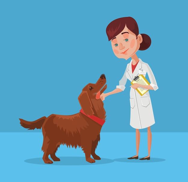 Doctor with dog flat cartoon illustration