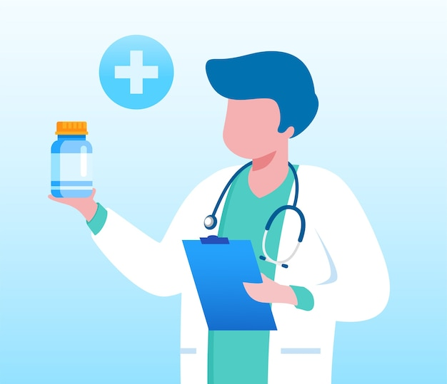 薬瓶を持つ医者