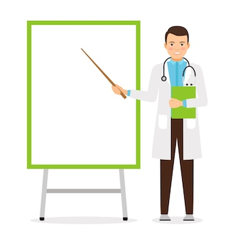 Doctor with flip chart board