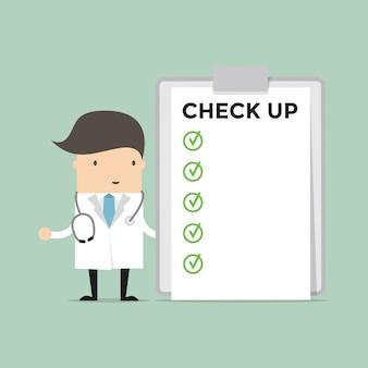 Врач со списком медицинских осмотров