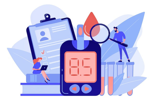 Doctor with magnifier and blood glucose testing meter. diabetes mellitus, type 2 diabetes and insulin production concept on white background. pinkish coral bluevector isolated illustration