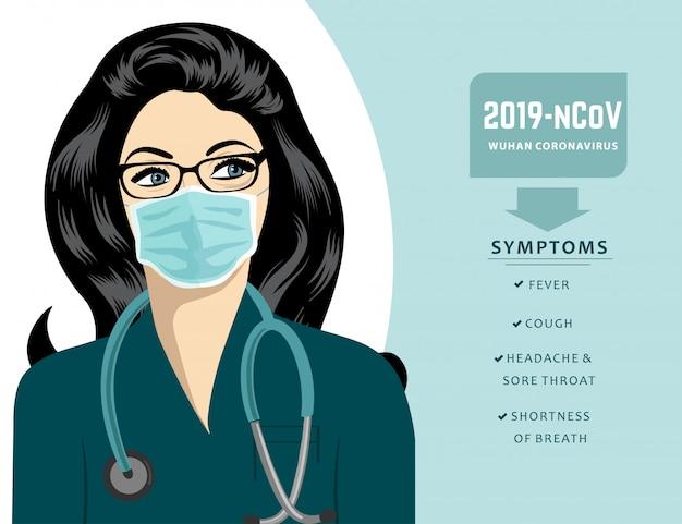 マスクをした医師がコロナウイルスの症状を説明します。 covid-19。
