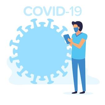 Covid-19流行性コロナウイルスから身を守るマスクをした医師。検疫の平らな青い色のイラスト。流行性の世界的パンデミック。