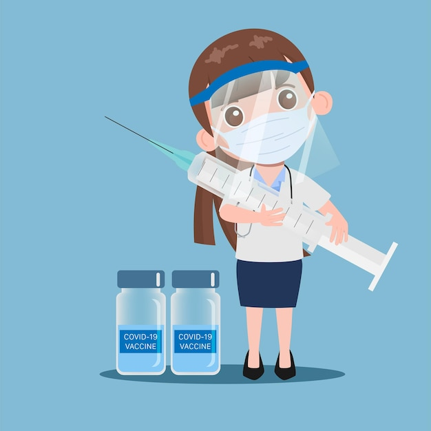 医療用フェイスマスクフェイスシールドを持ち、注射器を持って予防接種を受けている医師