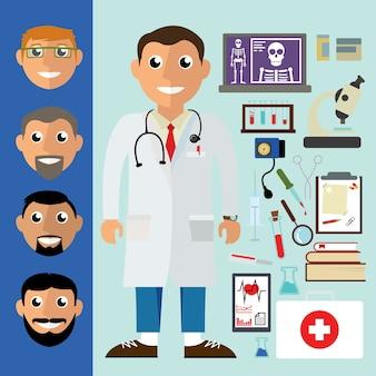의료 기기와 의사입니다. 의료 평면 벡터 일러스트 레이 션 세트