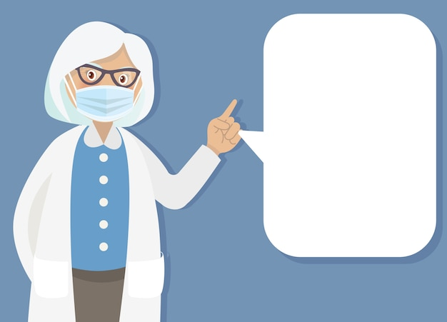 Doctor with medical mask and speech bubble