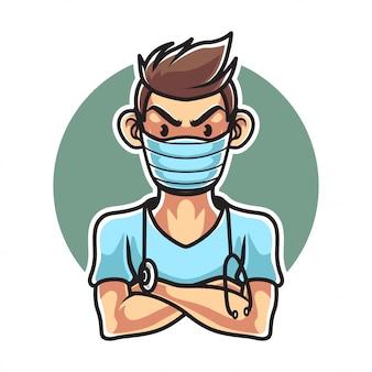 医療マスクを持つ医師