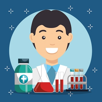 Doctor with medical service icons