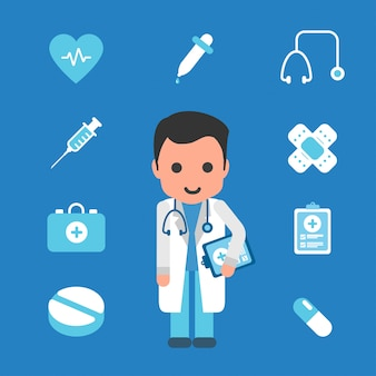 Doctor with medicine icon flat