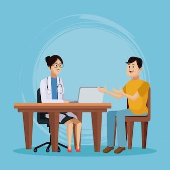 Doctor with patient cartoon