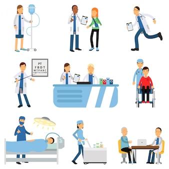 Врач с пациентом, медсестра с капельницей, тележка с лекарствами, кабинет терапевта и окулиста, операционная, приемная