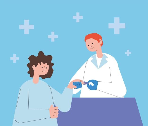 산소 농도계 일러스트 디자인을 사용하는 환자와 의사