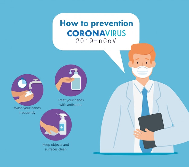 Doctor with prevention of coronavirus 2019 ncov