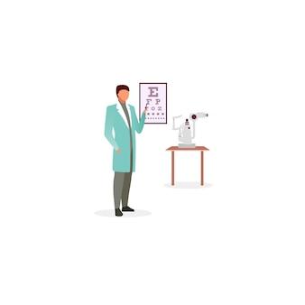 Доктор с snellen глаз диаграммы плоской иллюстрации. офтальмолог проверяет остроту зрения. оптик, указывая на зрение тест диаграммы мультипликационный персонаж. офтальмологическое обследование. медицинский работник